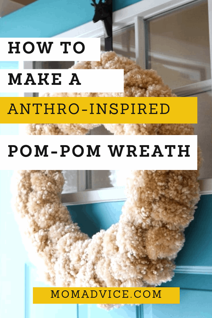 How to Make a Yarn Pom Pom Wreath from MomAdvice.com