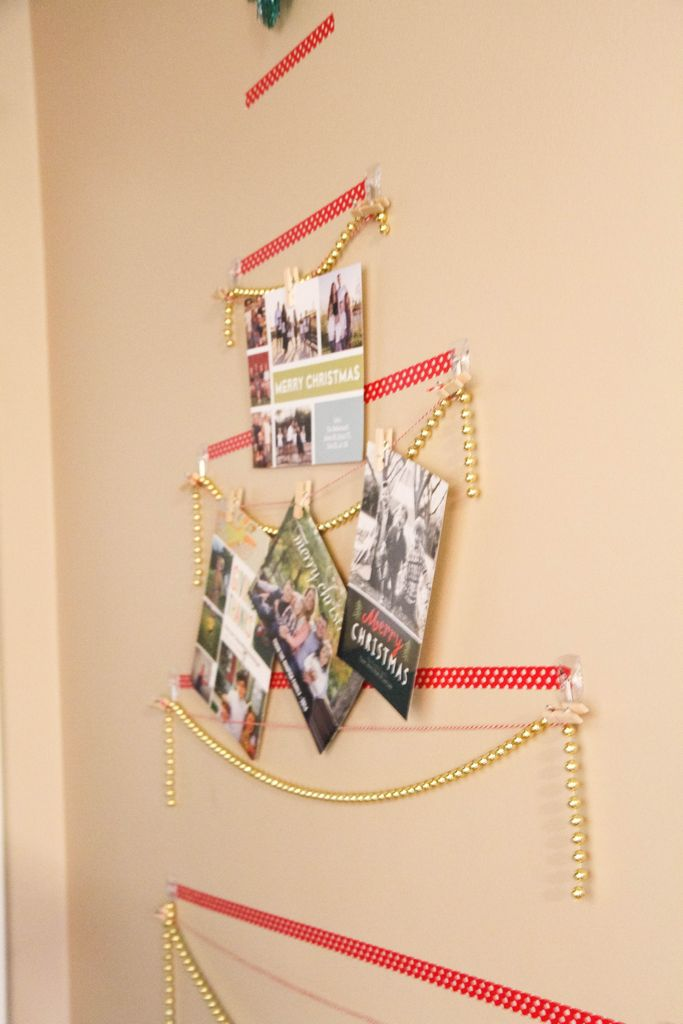 Washi Tape Christmas Tree Wall Card Display - MomAdvice