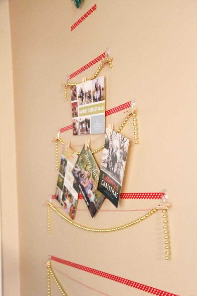Taping Christmas Lights To Wall : Washi Tape Christmas Tree Wall Card Display - MomAdvice