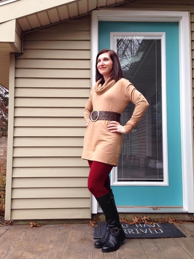 camel tunic + burgundy leggings + brown & black accessories