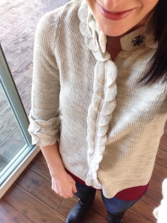 felt & wool sweater + burgundy tank + skinny jeans + boots