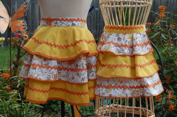 Yellow Half Aprons via Etsy