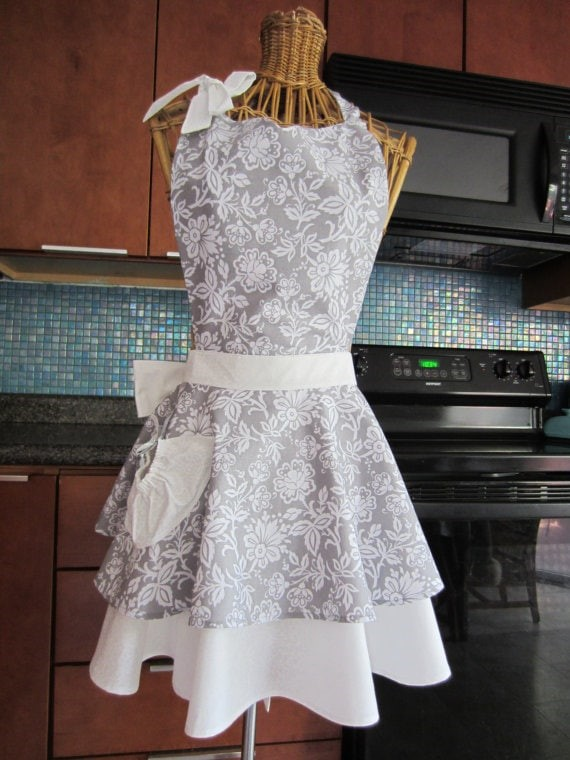 Gray Floral Layered Apron via Etsy