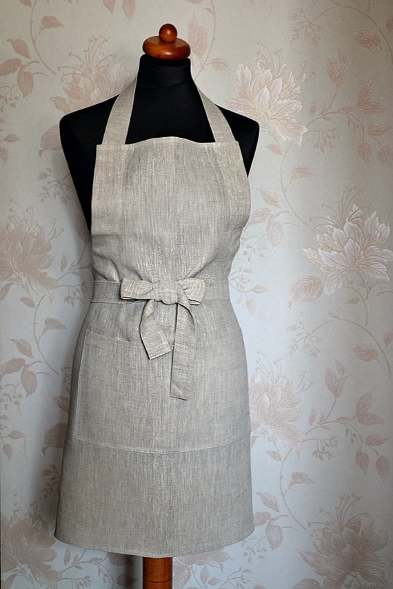 Linen Apron on Floral Background via Etsy