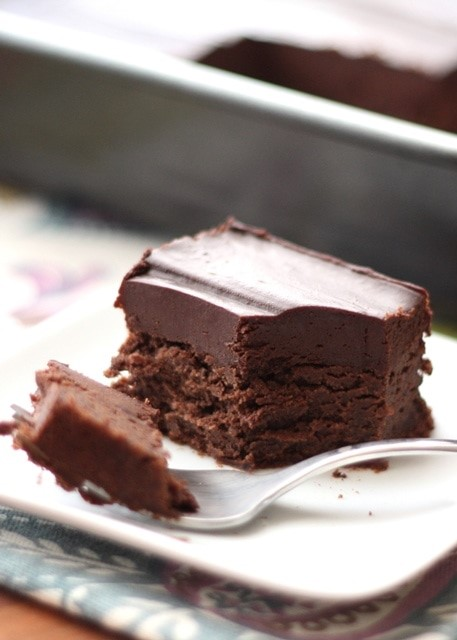 chocolate snacking cake via Barefeet In the Kitchen