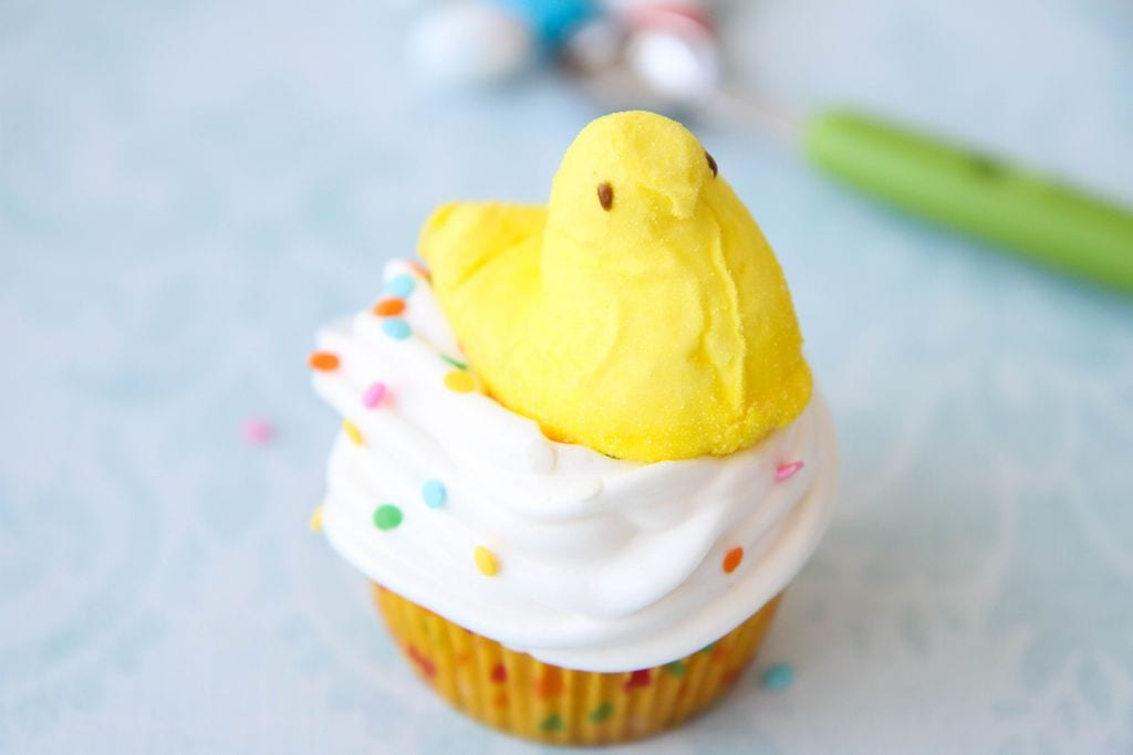 Easter Surprise Peeps Cupcakes from MomAdvice.com
