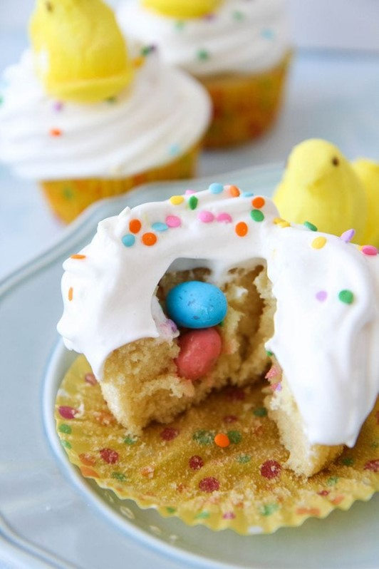 Easter Surprise Peeps Cupcakes