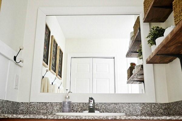 DIY Framed Bathroom Mirror via Liz Marie Blog