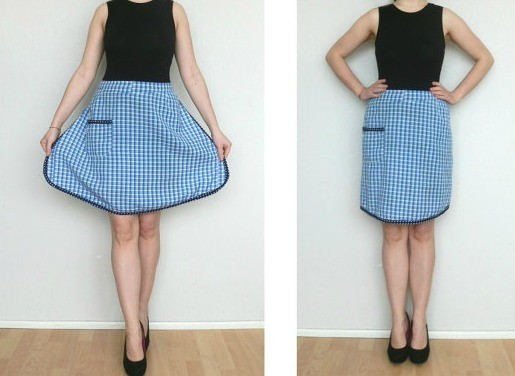 Blue Check Half Apron via Etsy