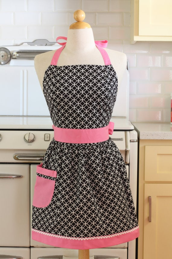 Pink-Black Apron via Etsy