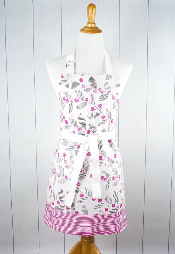 Pink-Black Leaf Apron via Etsy