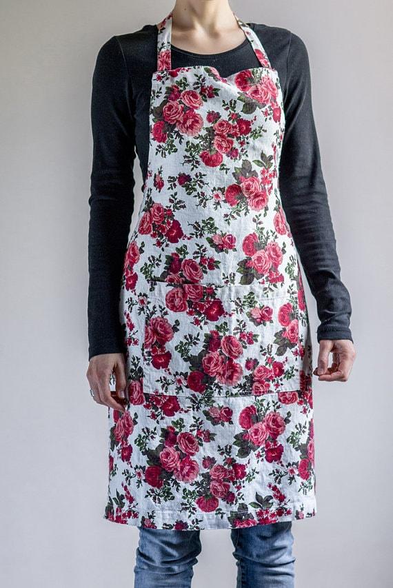 Floral Linen Apron via Etsy