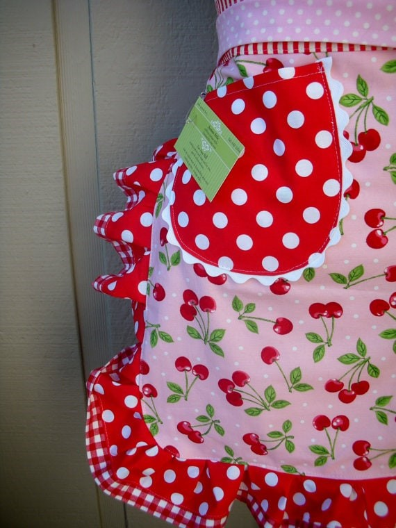 Cherry half apron via etsy