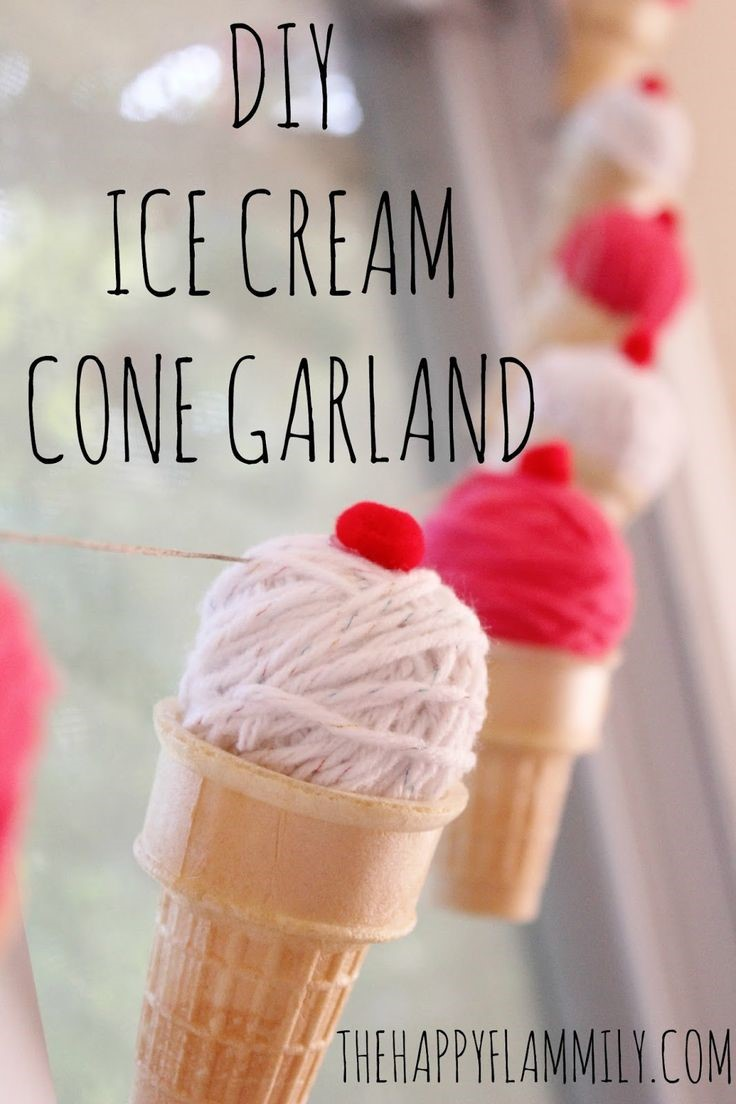 DIY Yarn Ice Cream Garland via The Happy Family