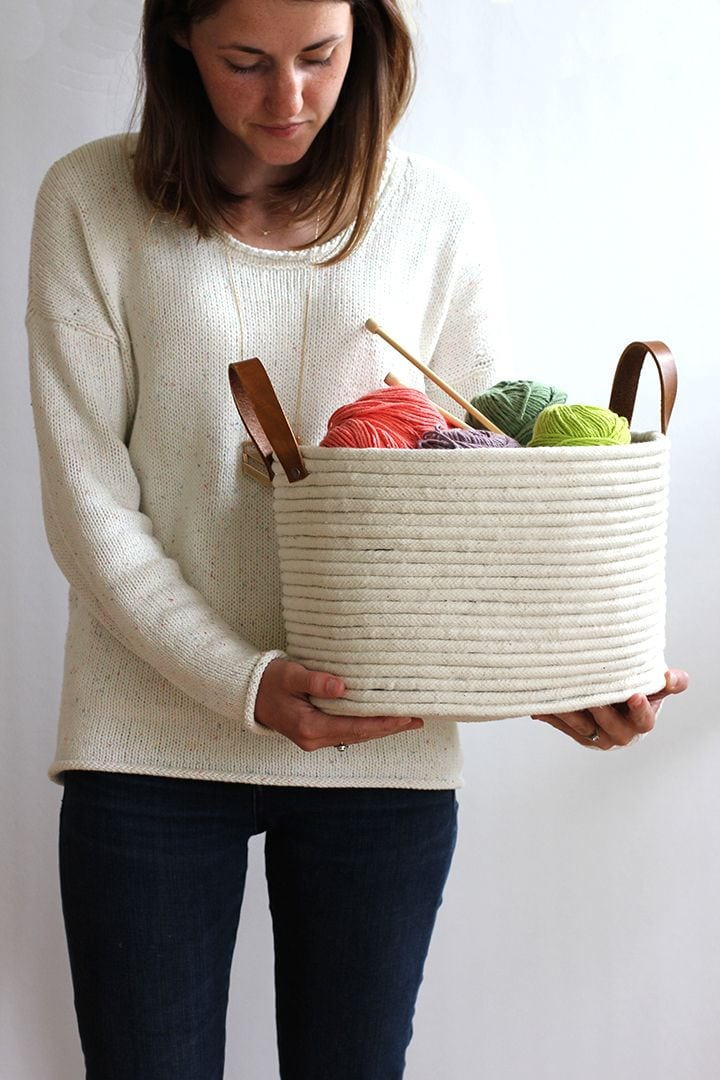 No Sew Coil Rope Basket via Allice and Lois