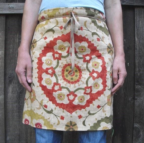 Printed Linen Half Apron via Etsy
