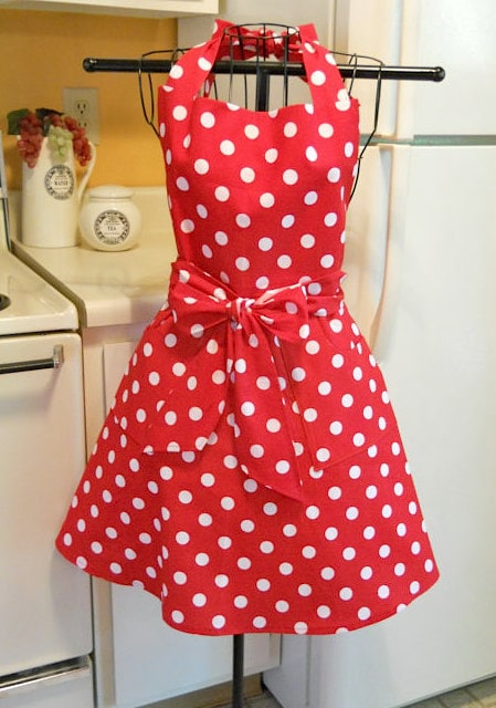 Red-White Polka Dot Apron via Etsy
