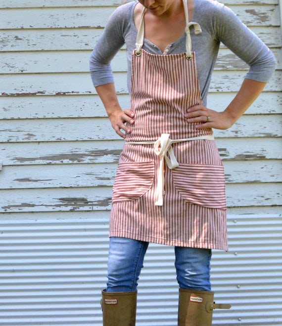 Red striped apron via etsy