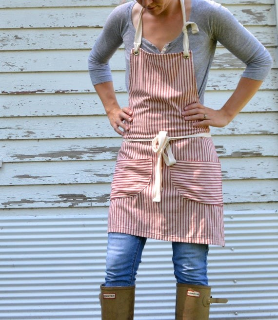 Red striped apron via etsy