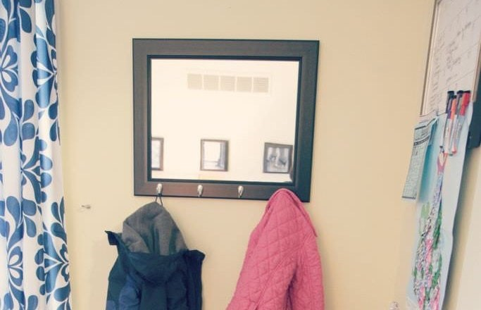 Mirrored coat rack