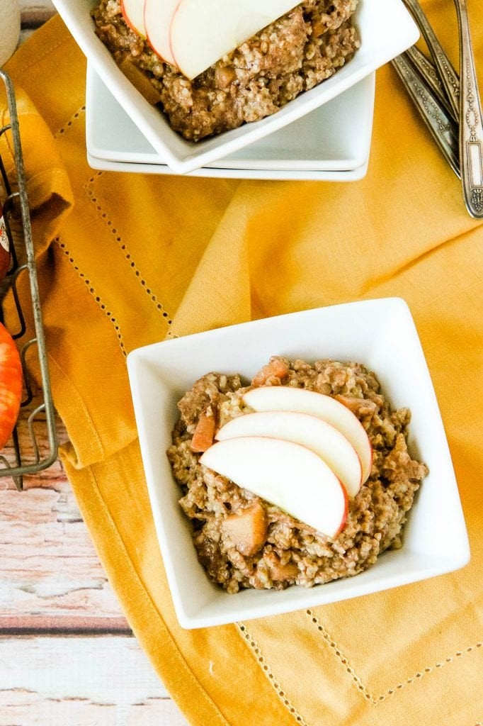 Overnight Slow Cooker Apple Cinnamon Steel Cut Oatmeal from MomAdvice.com