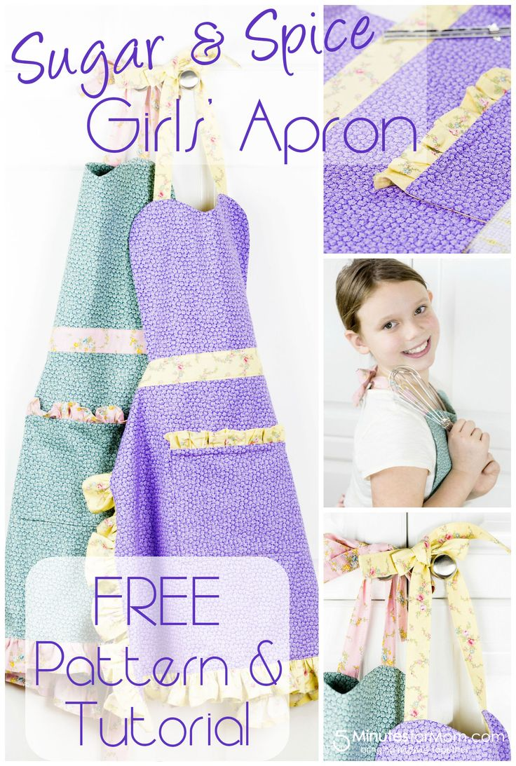 Girls apron pattern via 5 Minutes for Mom