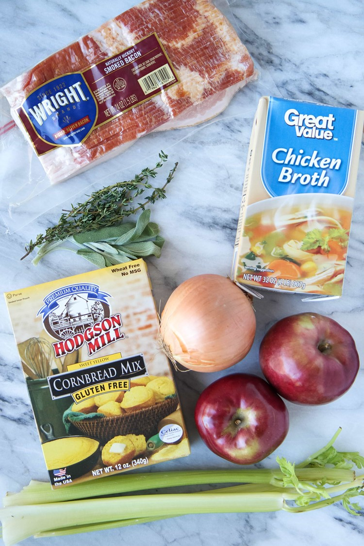 Bacon, Apple, & Cornbread Gluten-Free Stuffing from MomAdvice.com.