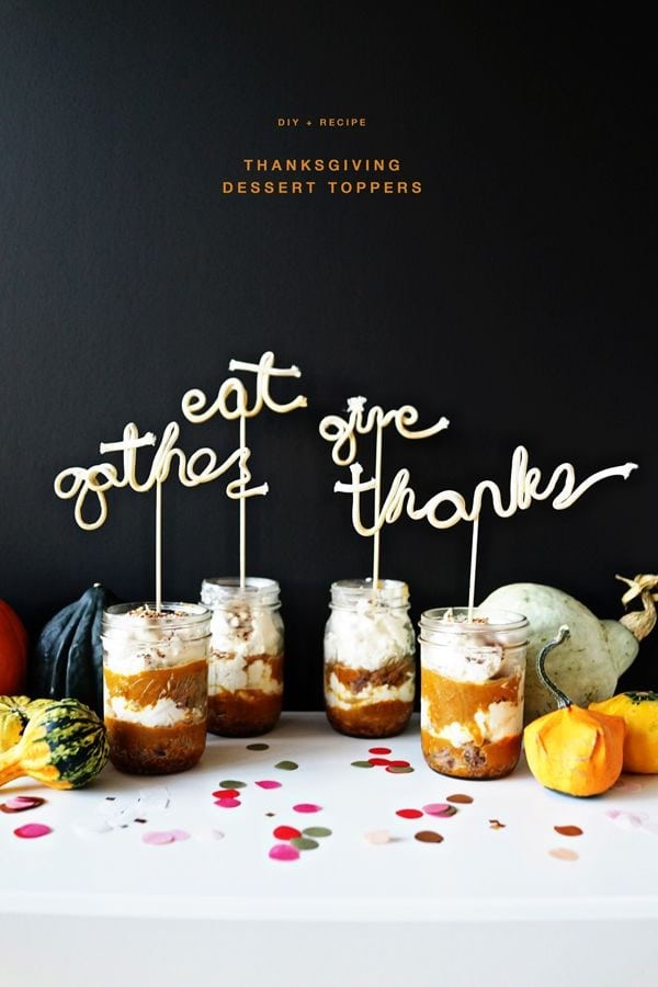 Thanksgiving dessert toppers via Oh Happy Day