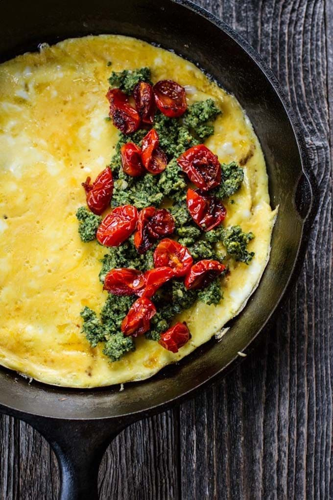 Pesto-Roasted Tomato Omelette via Cup of Jo