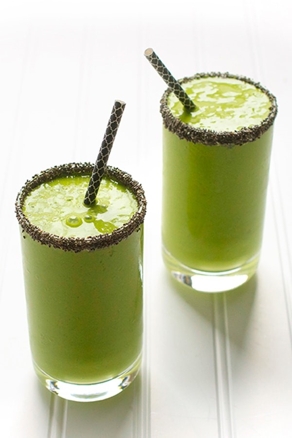 Healthy, delicious & easy - Mango Coconut Green Smoothie recipe for snack time or breakfast.