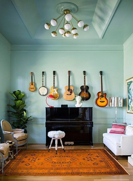 Decorate around a piano via Apartment Therapy