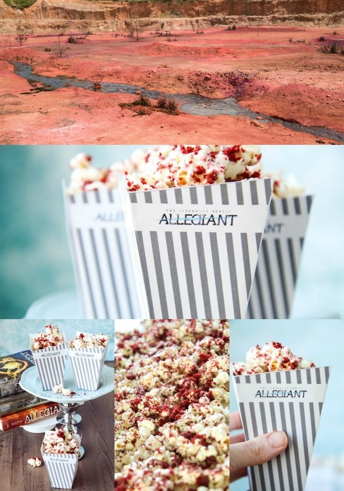 Red Velvet Popcorn Recipe With Free Allegiant Movie Popcorn Box Printables (from The Divergent Series).