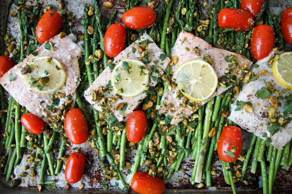 Sheet Pan Roasted Salmon and Asparagus With Pistachio Gremolata