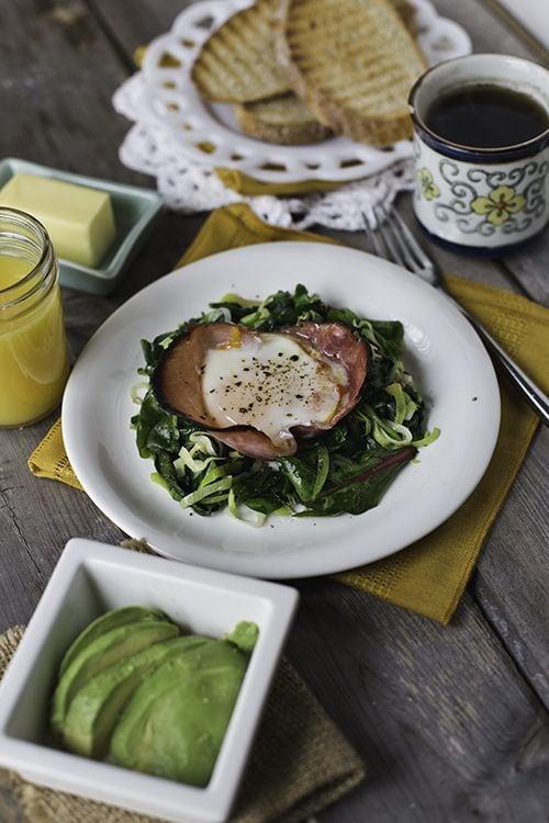 Egg-Ham and Greens Cups via Design Mom
