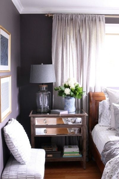 Plum painted master bedroom via The Inspired Room