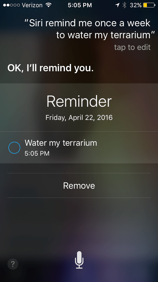 Siri Reminder To Water Plants