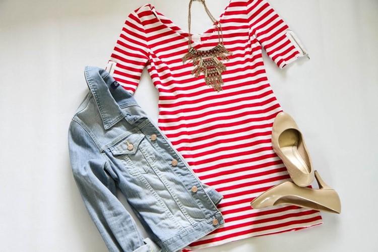 stripes + denim jacket + nude heels + statement necklace