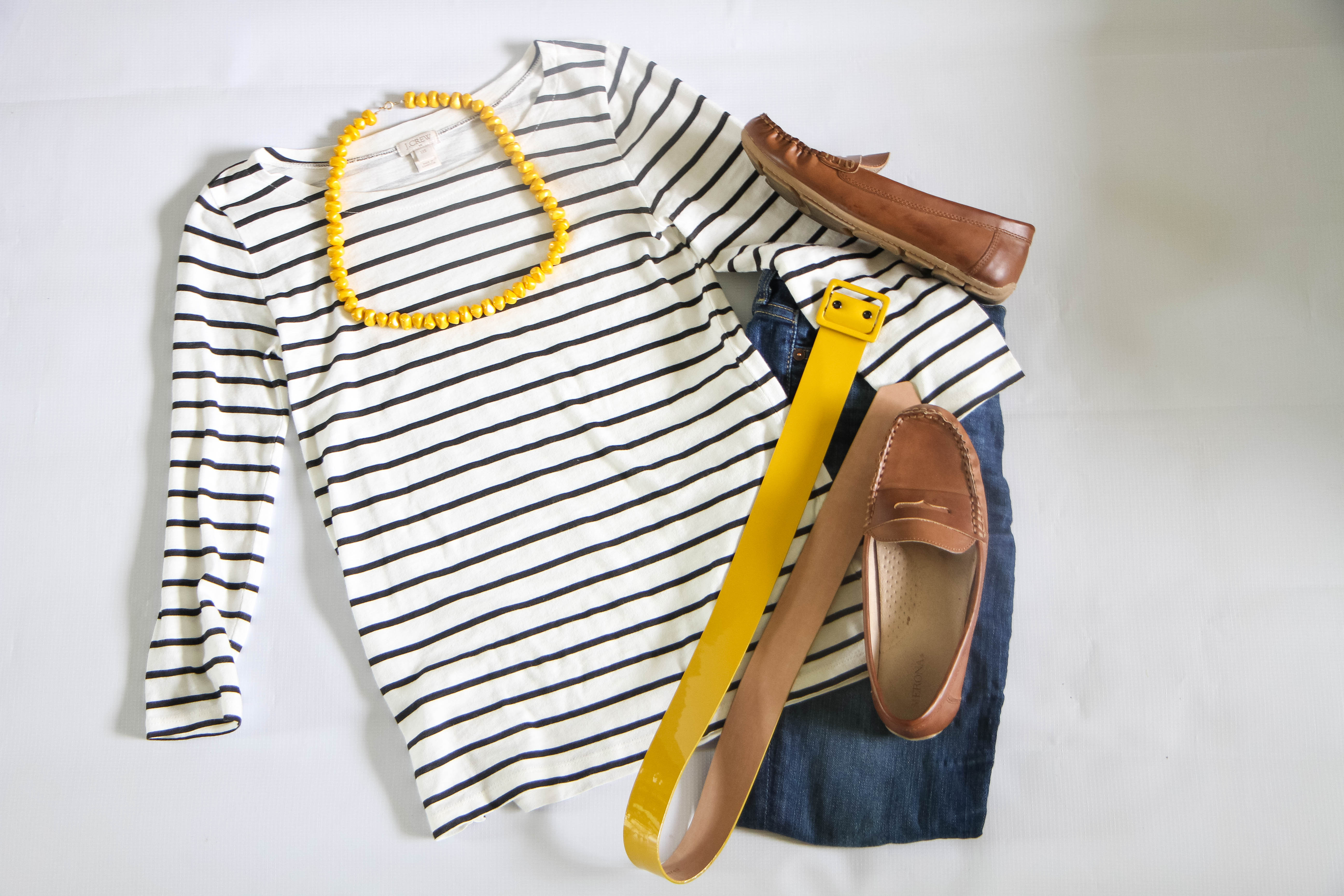 Stripes + Mustard Accessories + Driving Loafers