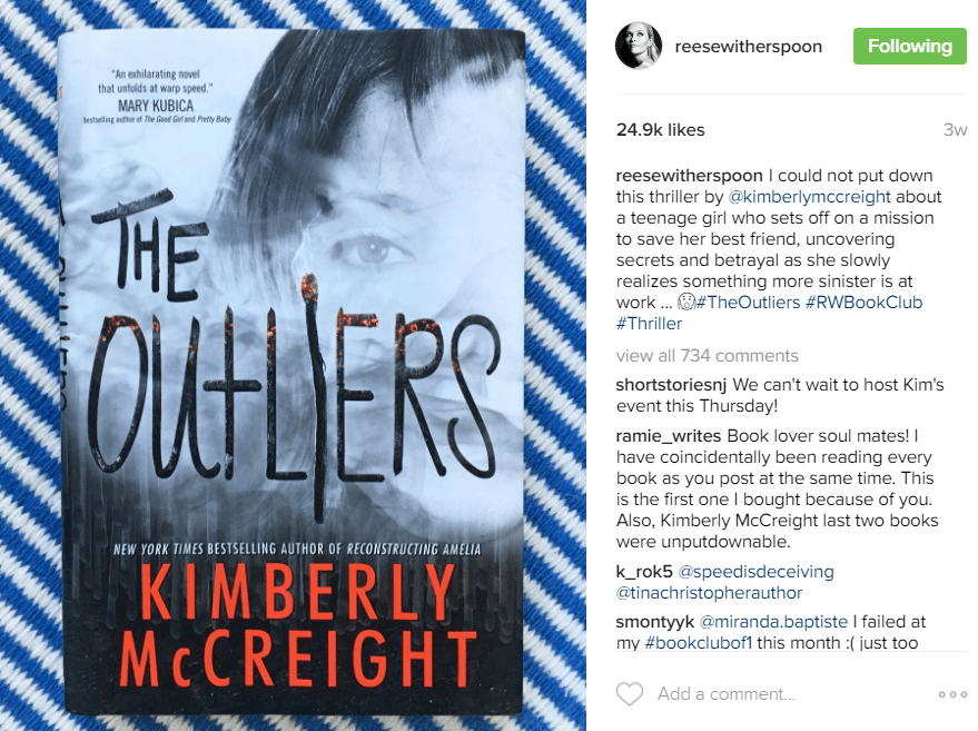 The Outliers featured on Reese Witherspoon's IG Feed