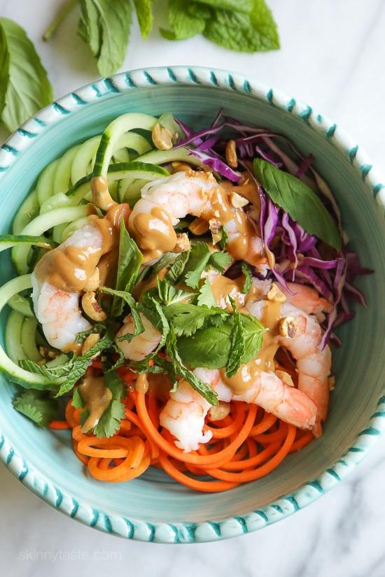 Spiralized-Carrots-and-Cucumber summer roll bowls via Skinnytaste