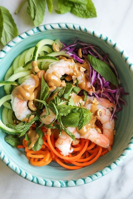 Spiralized-Carrots-and-Cucumber summer roll bowls via Skinnytaste