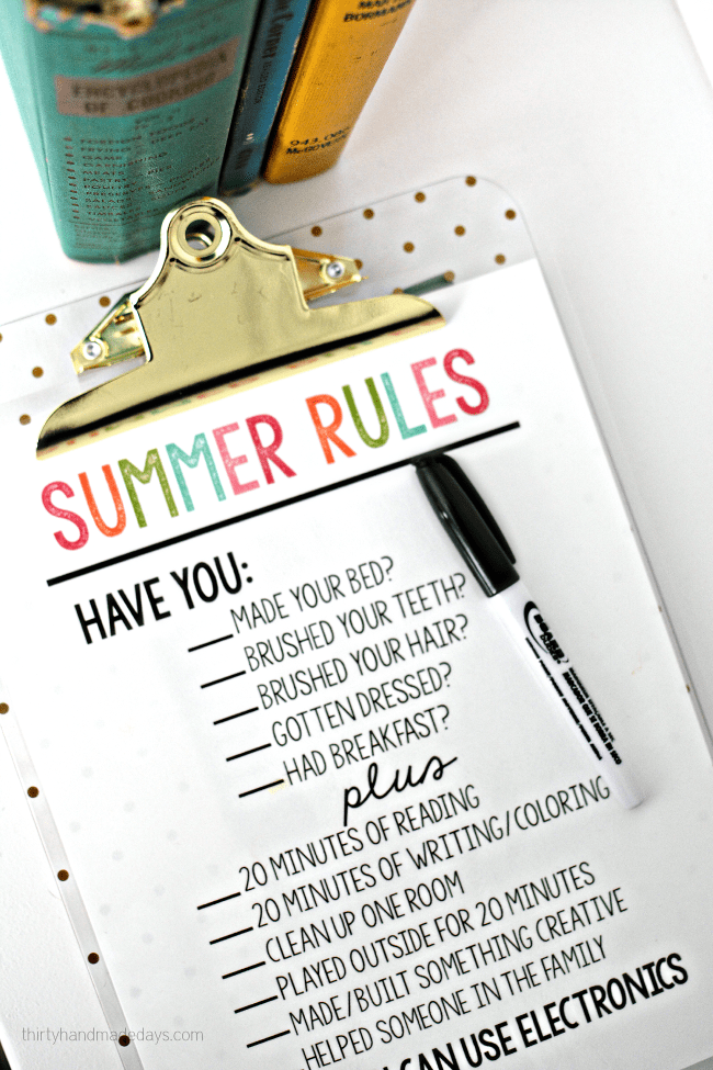 Summer Rules via Thirty Handmade Days