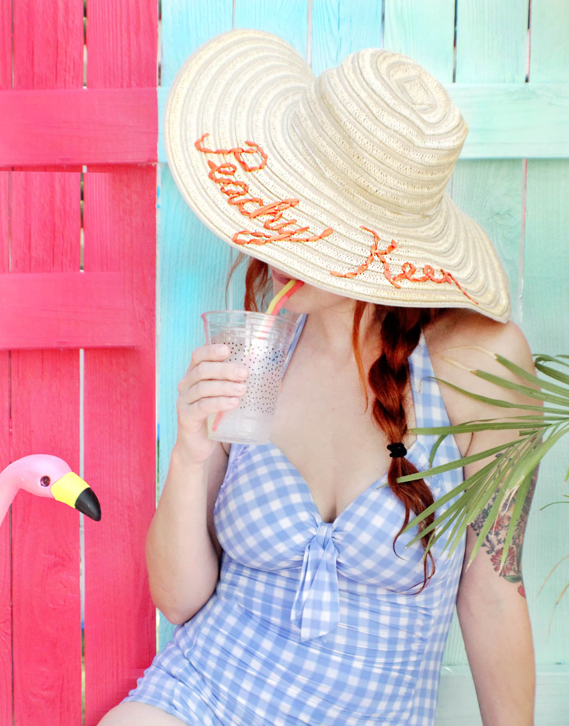 DIY Embroidered Sun Hat via A Beautiful Mess
