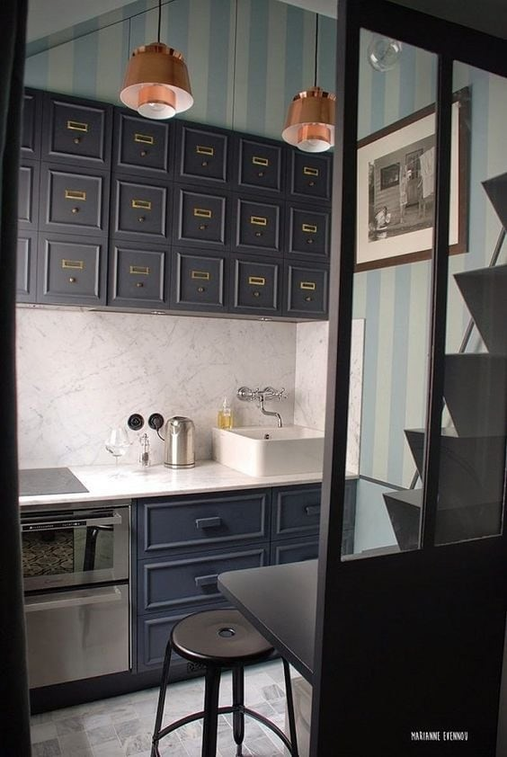 Tiny kitchen with style via Apartment Therapy