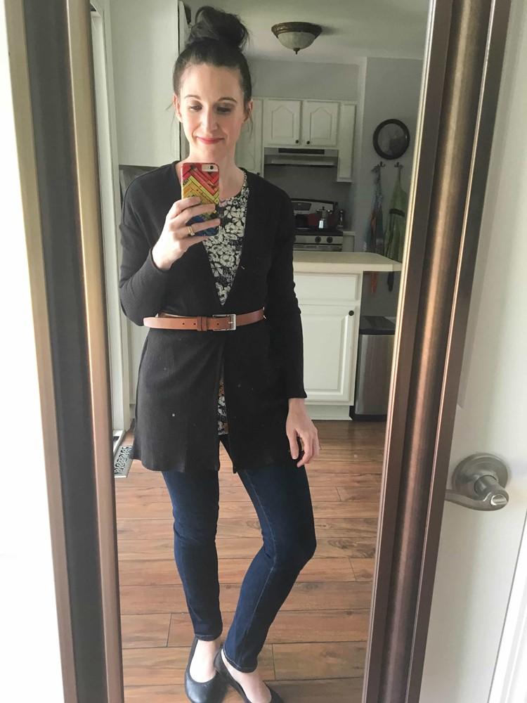 Belted Black Cardigan, Floral Top, Skinny Jeans, & Black Ballet Flats