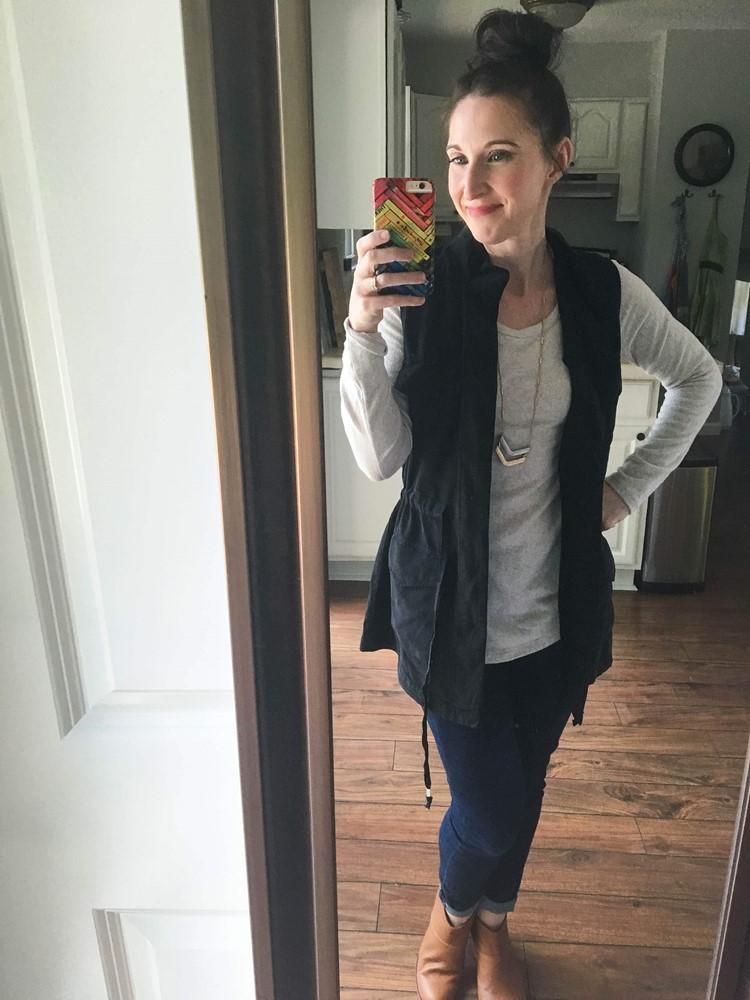 Black Cargo Vest, Ivory Shirt, Dark Jeans, Tan Tassel Booties