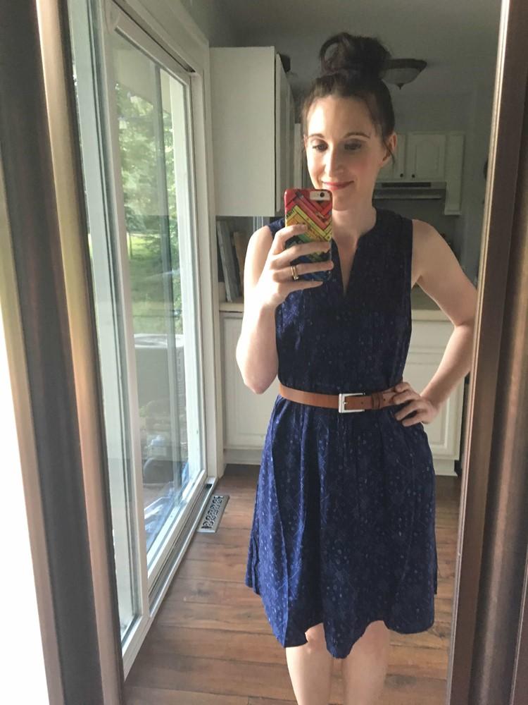 Sleeveless Pintuck Swing Dress With Tan Belt