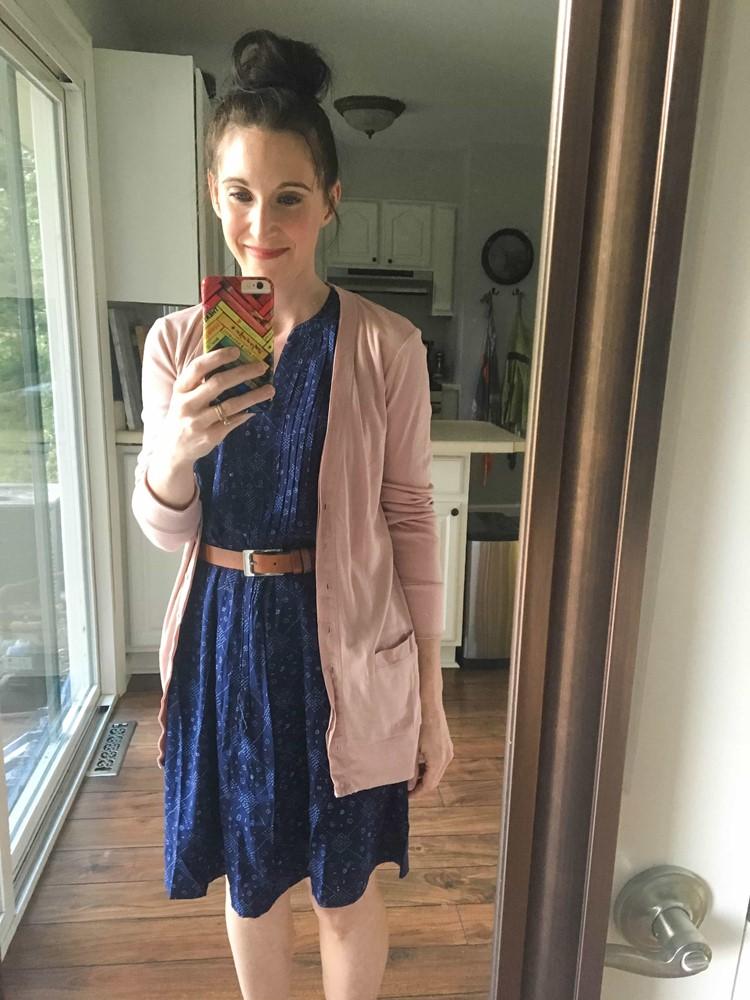 Pintuck Swing Dress with Rose Cardigan & Tan Belt
