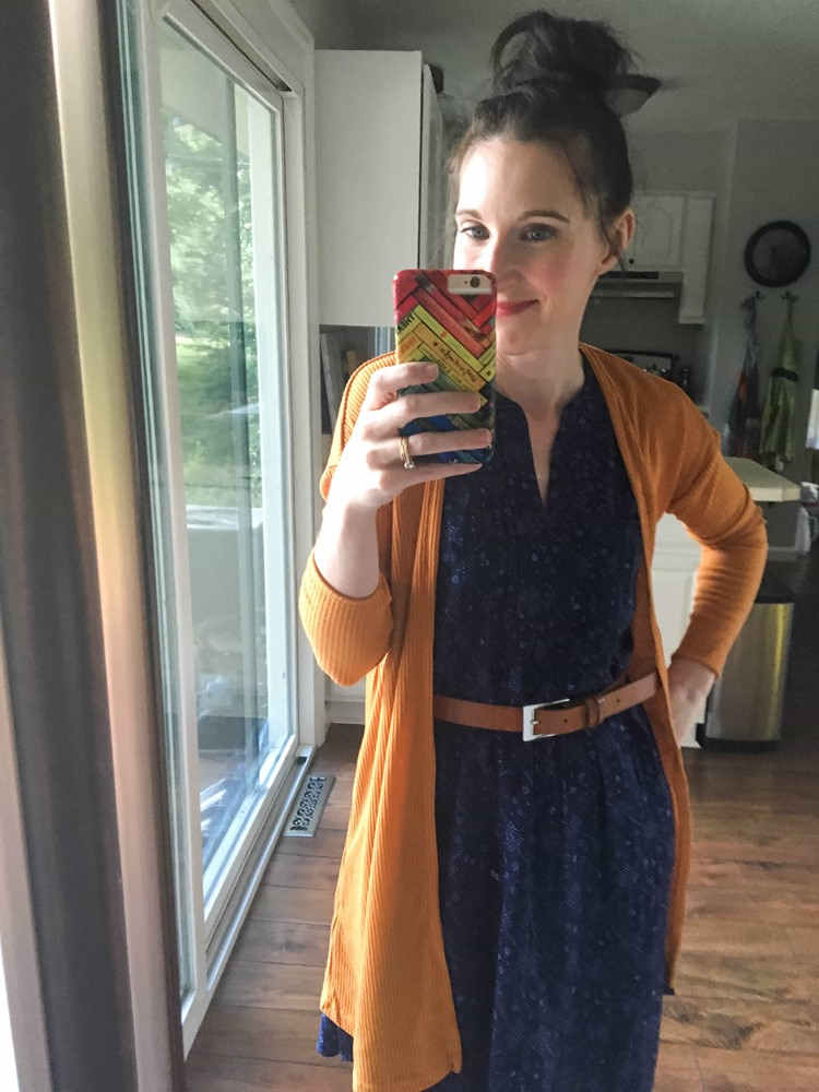 Blue Swing Dress, Mustard Sweater, & Tan Belt