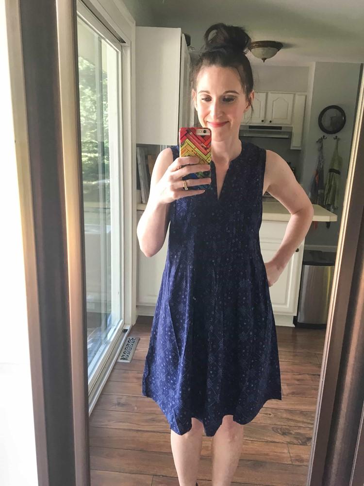Pintuck Sleeveless Swing Dress